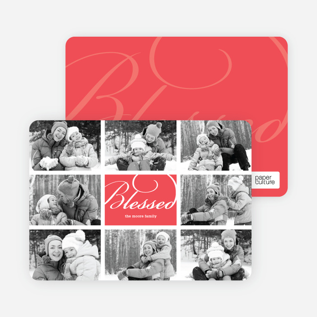 Brady Bunch Holiday Photo Cards - Pomegranate