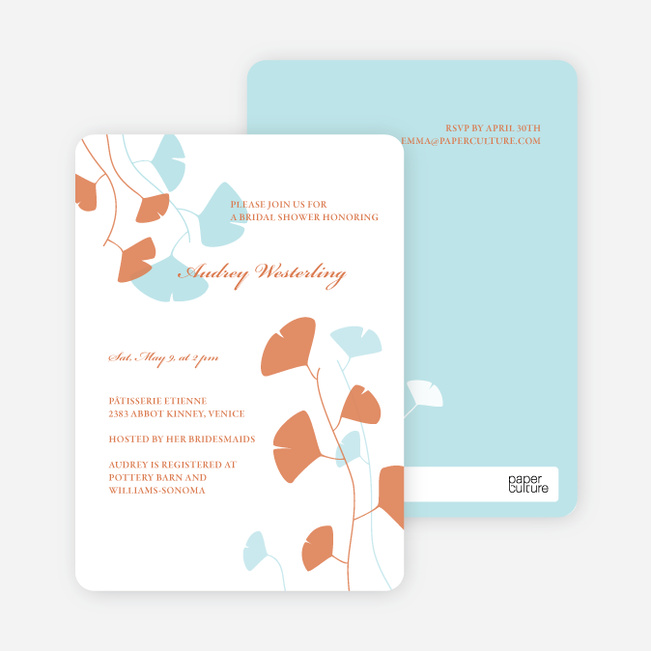 Bridal Shower Invitations: Leaves - Aqua