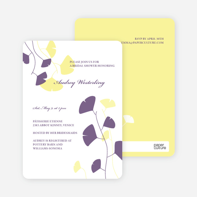Bridal Shower Invitations: Leaves - Lemon Chiffon
