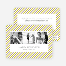 Bright and Bold Holiday Stripes 3 Photo Card - Chartreuse