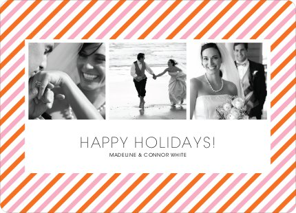 Bright and Bold Holiday Stripes 3 Photo Card - Carnation