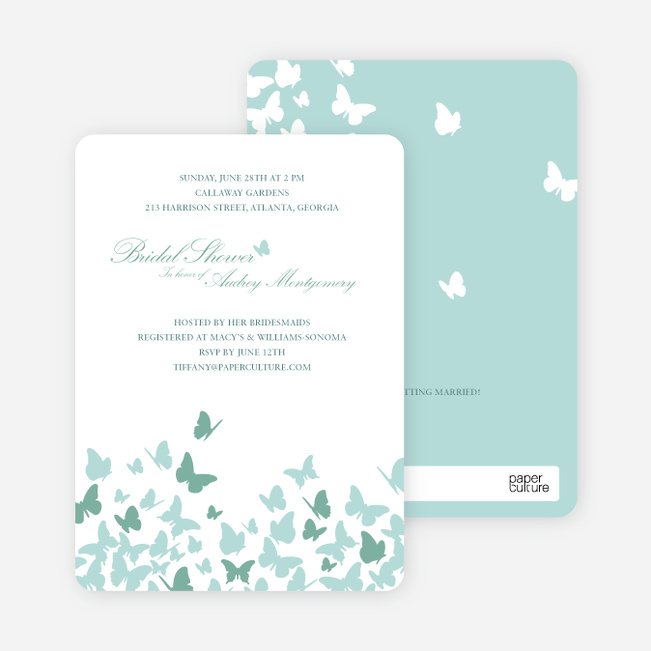 Butterfly Joy Wedding Shower Invitations - Aqua