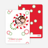 Candy Cane Christmas Photo Cards - Tomato Red