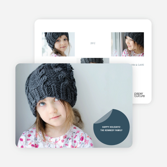 Circle Sticker Holiday Photo Cards - Indigo