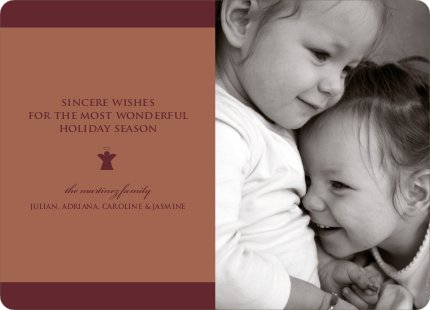 Classic Angel Holiday Card on 100% Recycled Paper - Sangria