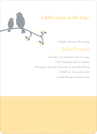 Classic Bird Baby Shower Invitation - Yellow