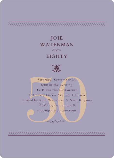 Classic Birthday Invitations - Lavender