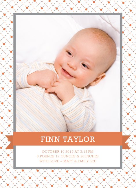 Classic Ribbon Frame Photo Birth Announcement - Dark Saffron