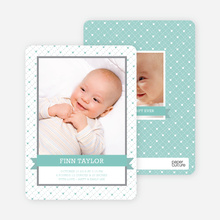 Photo Birth Announcements: Classic Ribbon Frame - Aqua Baby