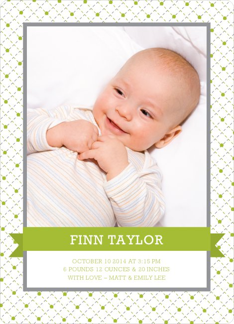 Classic Ribbon Frame Photo Birth Announcement - Pesto
