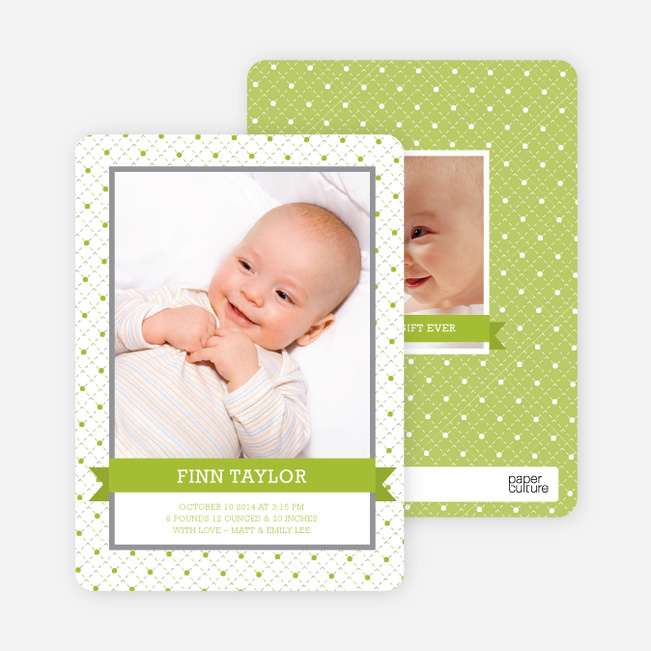 Photo Birth Announcements: Classic Ribbon Frame - Pesto