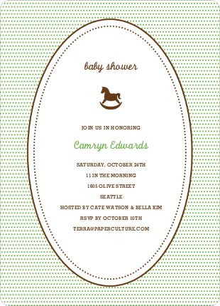 Classic Rocking Horse Baby Shower Invitation - Paper Culture Green