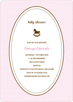 Classic Rocking Horse Baby Shower Invitation - Cotton Candy