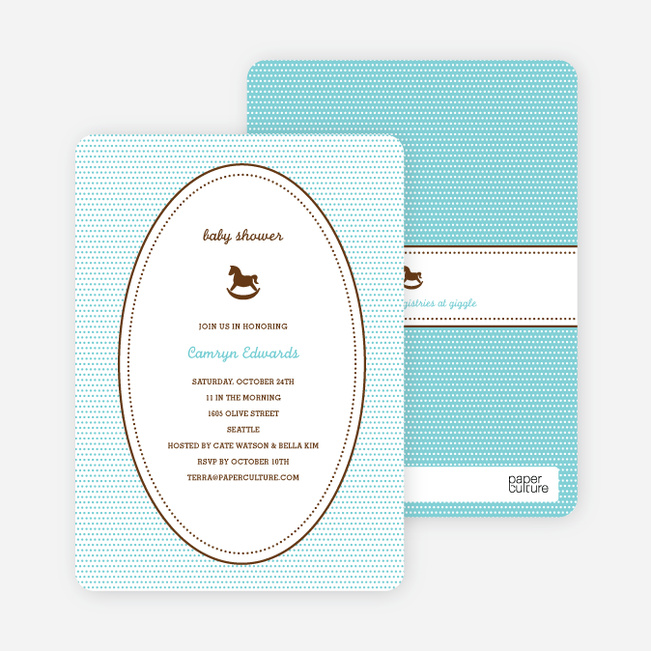 Classic Rocking Horse Baby Shower Invitation - Aquamarine