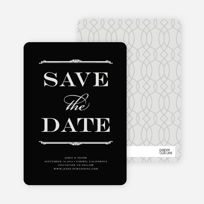 Classic Type Save the Date Cards - Black Board