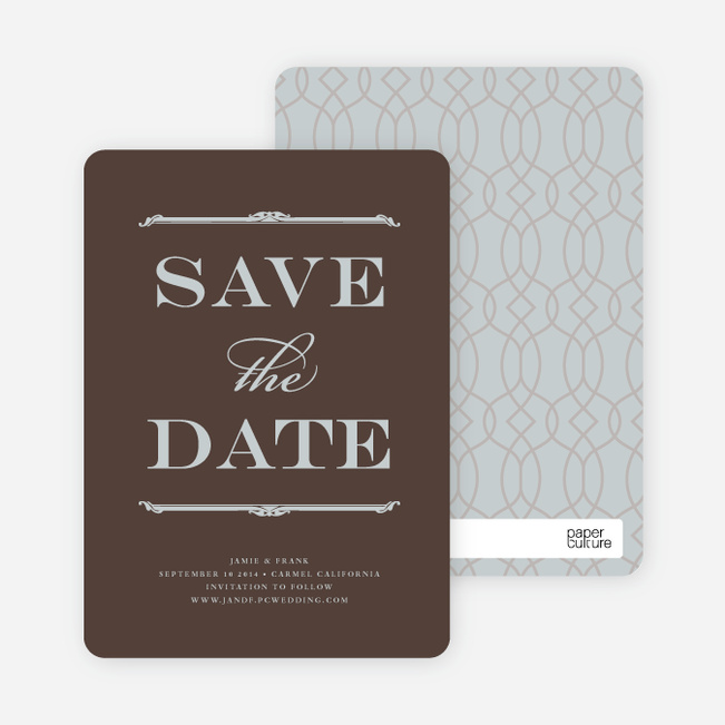 Classic Type Save the Date Cards - Umber