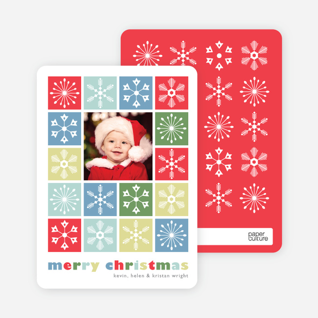 Colored Snowflakes Holiday Photo Cards - Pomegranate