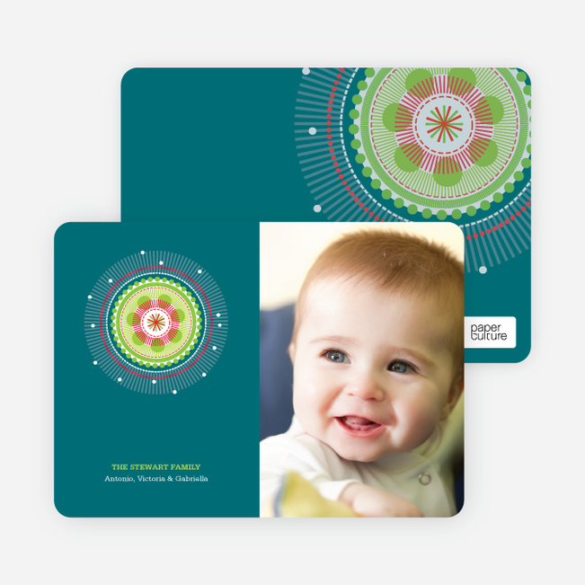Colorful Holiday Photo Cards - Teal