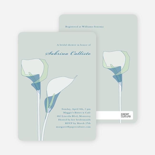 Elegant Flowers Bridal Shower Invitations - Blue Seagrass