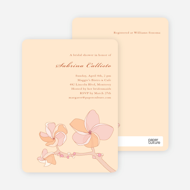 Elegant Flowers Bridal Shower Invitations - Sandy Tan