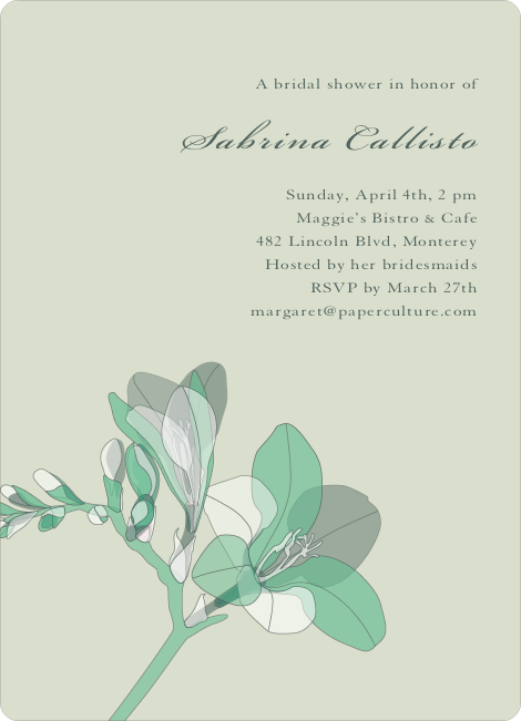 Elegant Flowers Bridal Shower Invitations - Green Lily