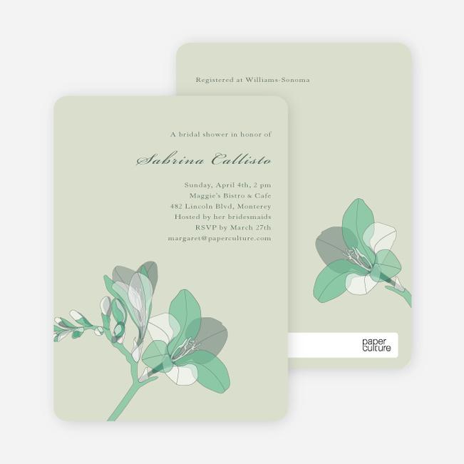 Elegant Flowers Bridal Shower Invitations - Green Lily