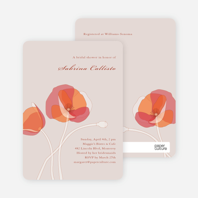 Elegant Flowers Bridal Shower Invitations - Pink Peach