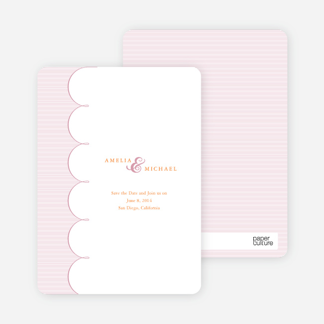 Elegant Save the Date Cards with a Cloud Theme - Pink Cherry