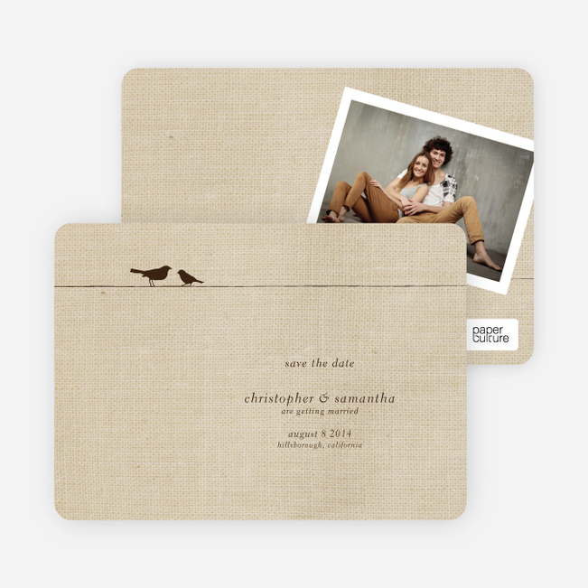 Fabric Birds Save the Date Cards - Beige Fabric