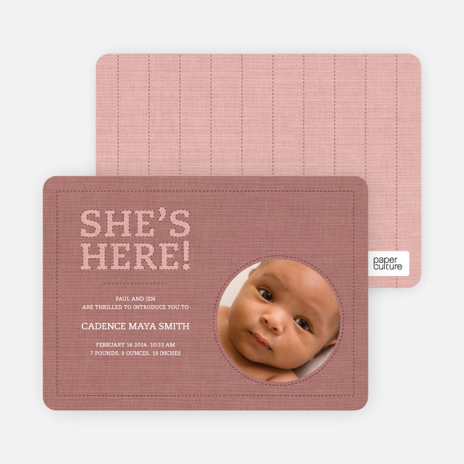 Fabric of Life Birth Announcements - Vintage Rose