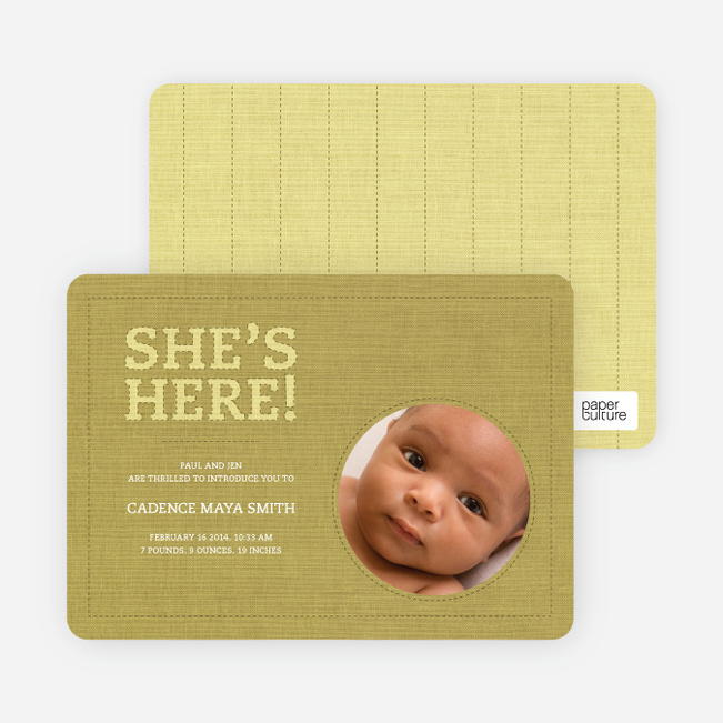 Fabric of Life Birth Announcements - Lemongrass