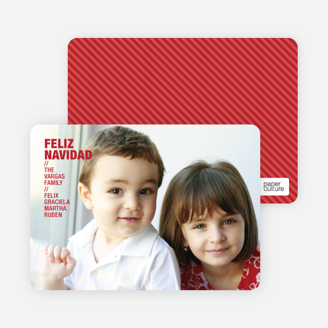 Feliz Navidad Holiday Photo Cards - Strawberry Red