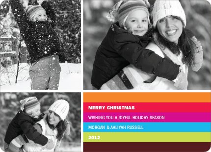 Festive Rainbow Stripes Holiday Photo Cards - Magenta