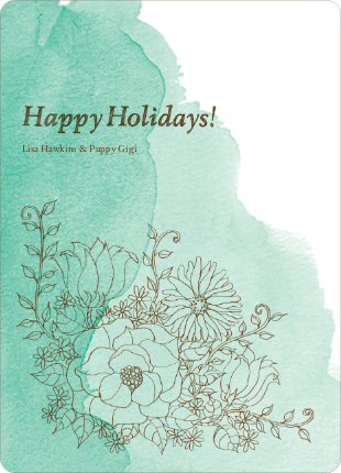 Floral Elegance Holiday Greetings - Mint