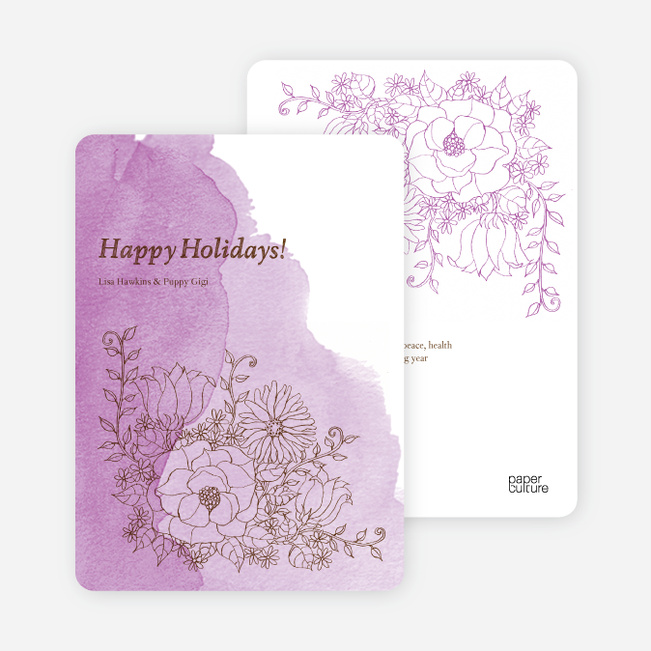 Floral Elegance Holiday Greetings - Wisteria