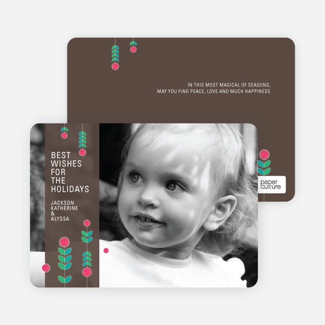 Floral Holiday Photo Cards - Coral