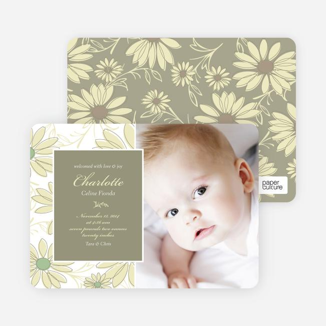 Flower Child Flower Power Birth Announcements - Green Formal