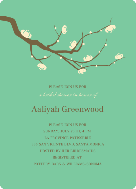 Flower Themed Wedding Shower Invitations - Emerald Green