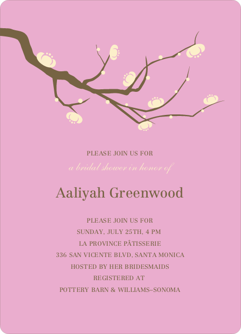 Flower Themed Wedding Shower Invitations - Lavender