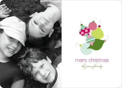 Fun Modern Ornaments Holiday Photo Card - Keylime