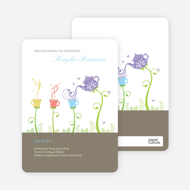 Garden Tea Party Baby Shower Invitation - Granite