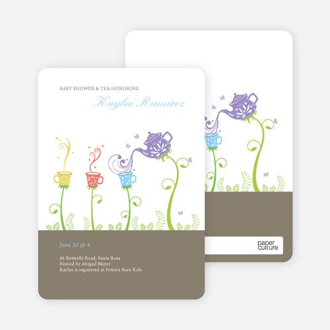 Garden Tea Party Baby Shower Invitation - Granite
