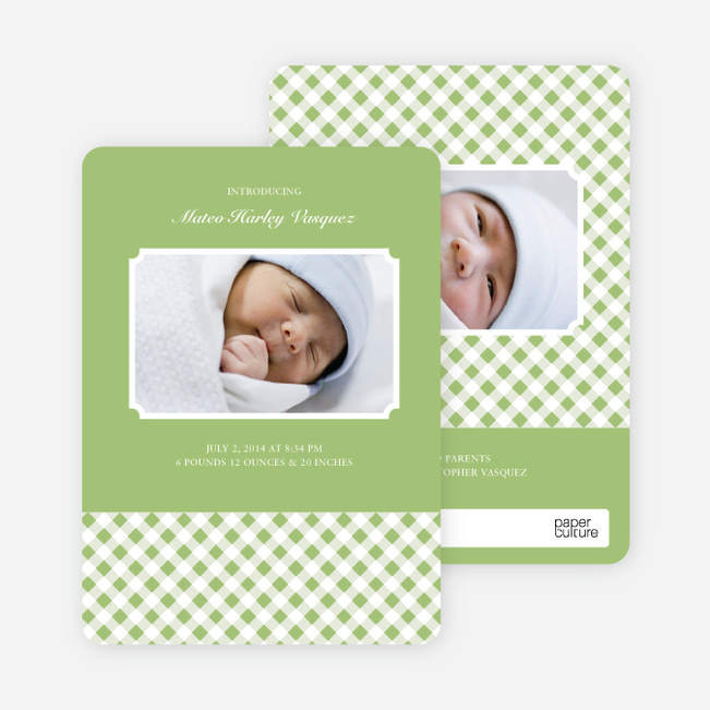 Modern Baby Announcements: Gingham Pattern - Light Sage