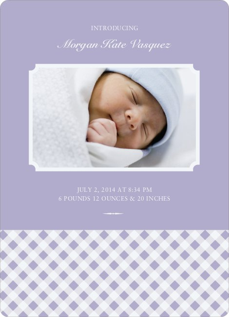 Gingham Baby Announcement - Lilac