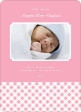 Gingham Announcement - Baby Pink