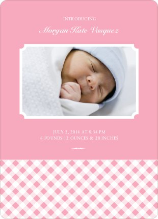 Gingham Baby Announcement - Baby Pink
