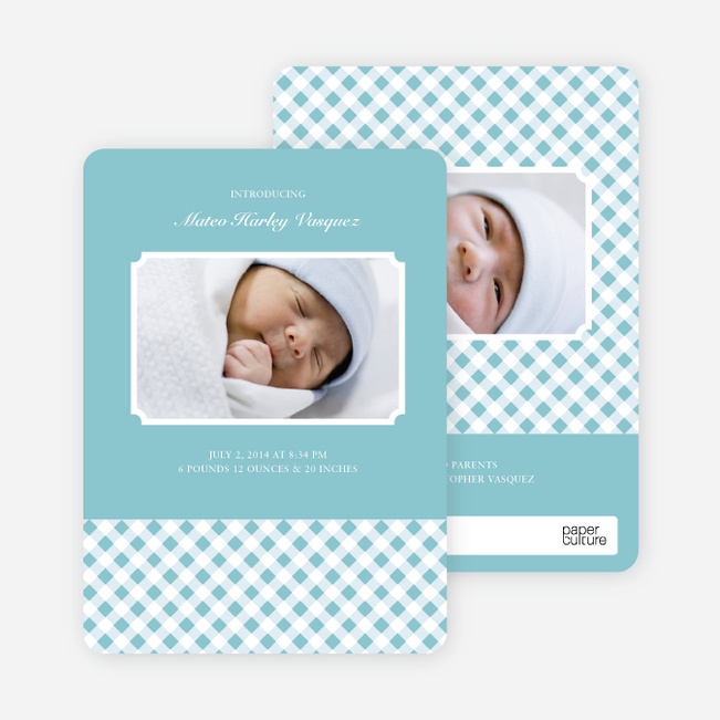 Gingham Modern Baby Announcement - Powder Blue