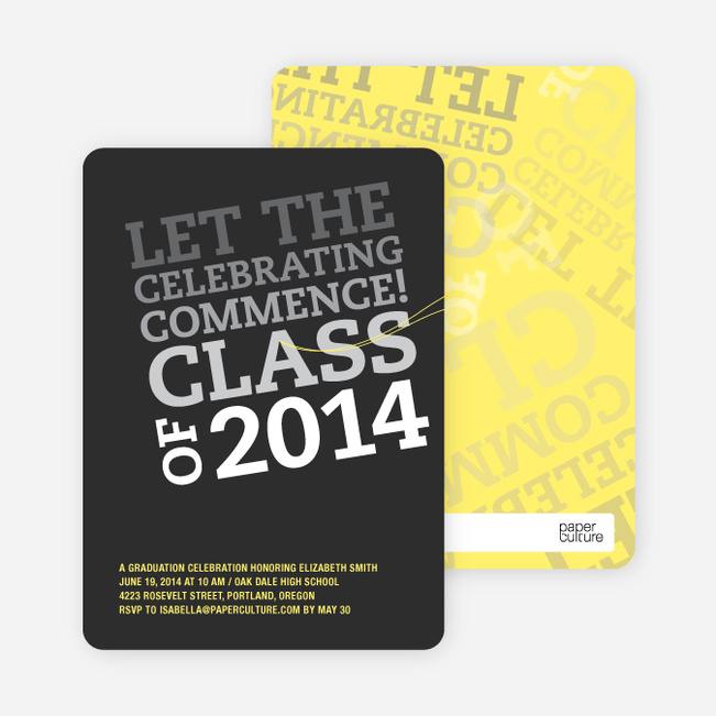 Graduation Announcements: Let the Celebrating Commence - Charcoal