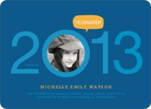 Graduation Cutout Invitations - Collegiate Blue