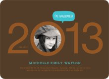 Graduation Cutout Invitations - Coffee Bean